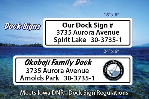 dock sign for Iowa lake