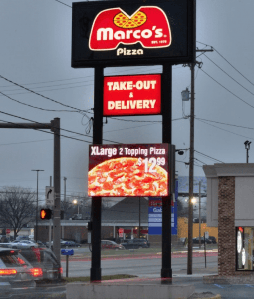 Pizza sign with Cirrus full color LED display