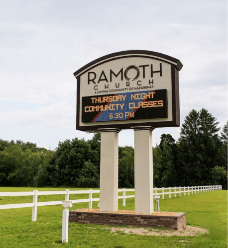 Church sign with full color Cirrus LED display for better value.