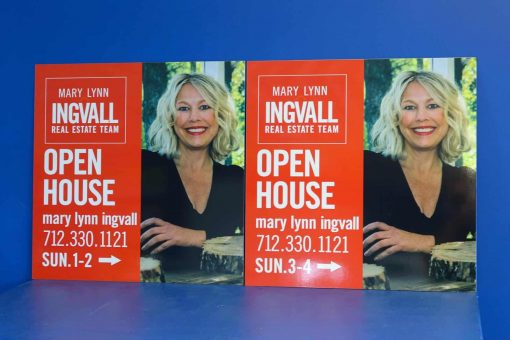 adhesive vinyl print applied to aluminum composite sign blanks