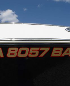 Cut vinyl decal for Iowa boat license number requirements.
