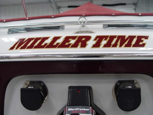 """Miller Time"" Boat Transom boat name graphics in burgundy over gold vinyl decal"