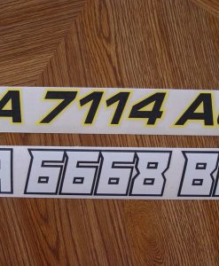 Boat License number cut vinyl with transfer tape ready to apply (RTA) decals