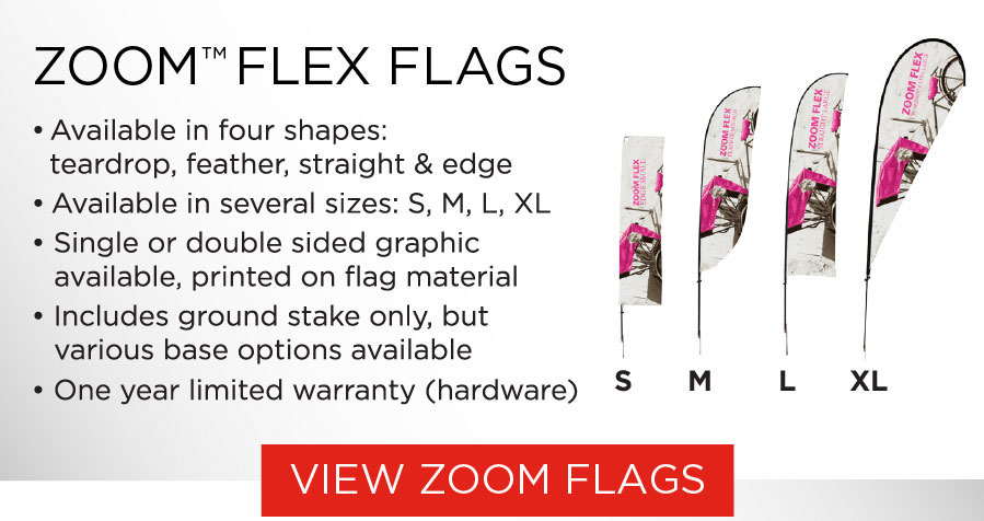 Zoom Flex Flags in four shapes